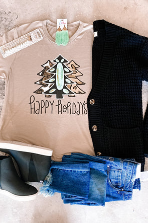 Happy Holidays Turquoise Trees Tee