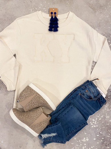 KY Oatmeal Corded Monochromatic Crewneck