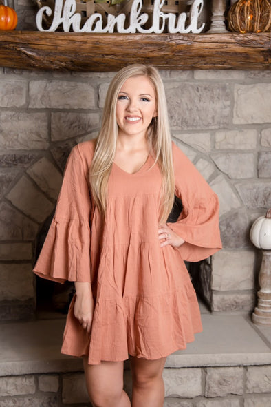 Pumpkin Spice Ruffle Dress