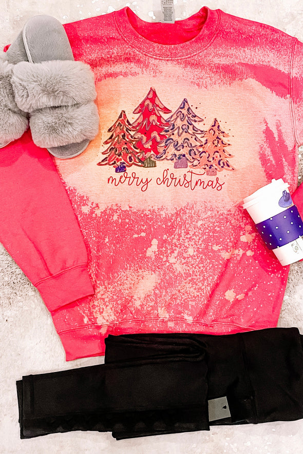 Merry Christmas Bright Color Trees Crewneck