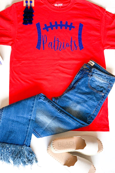 Glitter Patriot Football Tee