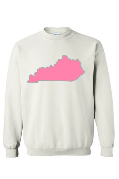 Pink State Outline Embroidered Sweatshirt
