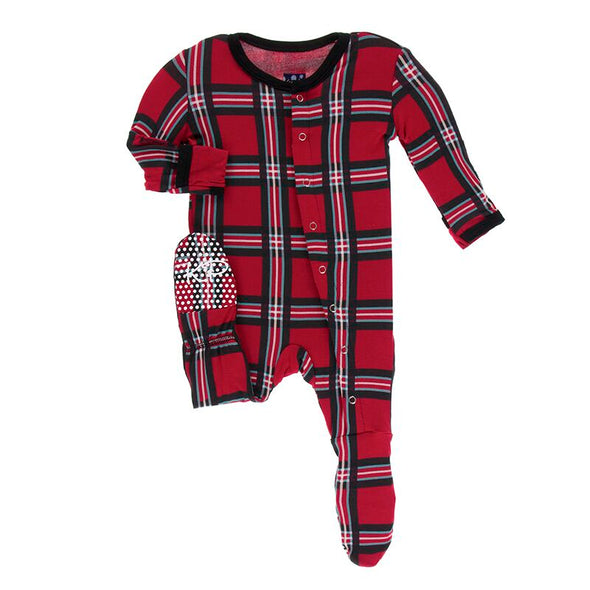 Christmas Plaid Footie with Snaps