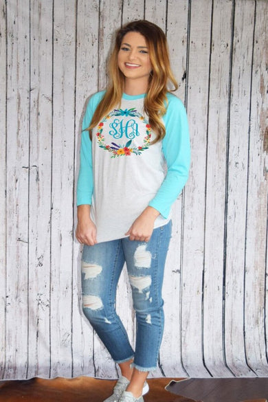 Terrific Turquoise Baseball Tee