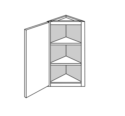 PLYMOUTH WALL ANGLE END CABINET: 12IN. D WALL 1 DOOR  Width: 12 | Height: 36 | Depth: 12