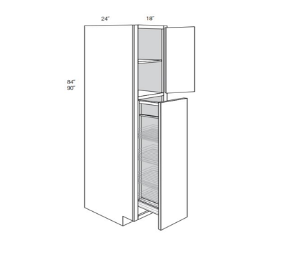 KINGSTON TALL CABINETS WITH PULL OUT: Width: 18 | Height: 84 | Depth: 24