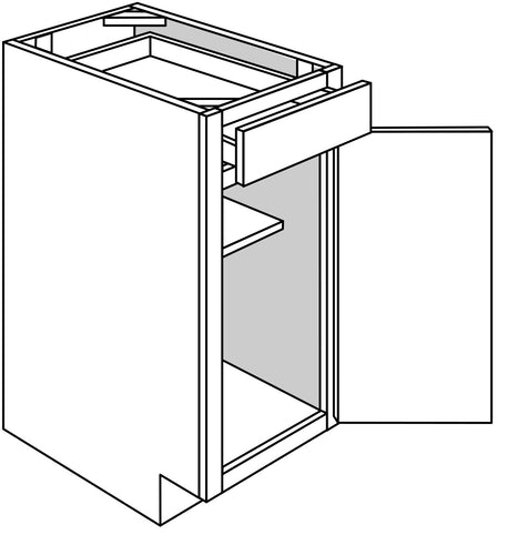 QUINCY VANITY: 1 DOOR 1 DRAWER Width: 15 | Height: 34.5 | Depth: 21
