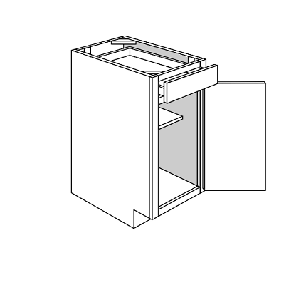 KINGSTON BASE 1 DOOR 1 DRAWER: Width: 12 | Height: 34.5 | Depth: 24