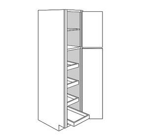 WHEATON TALL PANTRY CABINET 2 DOOR 4 ROLLOUT : Width: 18 | Height: 90 | Depth: 24