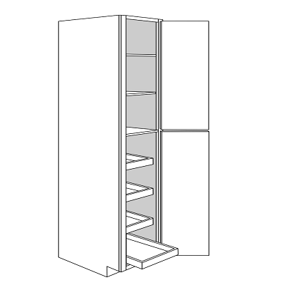 PLYMOUTH TALL PANTRY CABINET 2 DOOR 4 ROLLOUT : Width: 18 | Height: 96 | Depth: 24