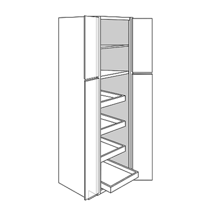 PLYMOUTH TALL PANTRY CABINET 4 DOOR 4 ROLLOUT : Width: 24 | Height: 90 | Depth: 24