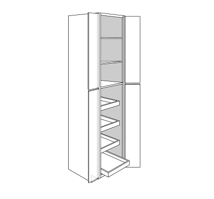 WHEATON TALL PANTRY CABINET 4 DOOR 4 ROLLOUT : Width: 24 | Height: 96 | Depth: 24