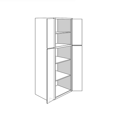 KINGSTON TALL PANTRY CABINET 4 DOOR : Width: 30 | Height: 84 | Depth: 24
