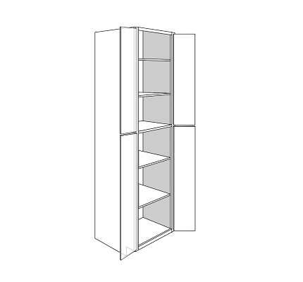 PLYMOUTH TALL PANTRY CABINET 4 DOOR : Width: 24 | Height: 96 | Depth: 24