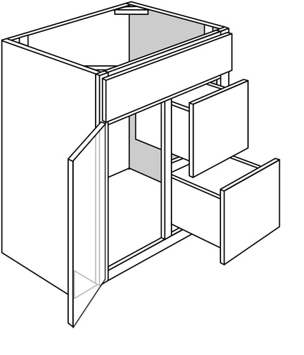 QUINCY VANITY: 1 DOOR 2 DRAWER - DRAWERS ON LEFT