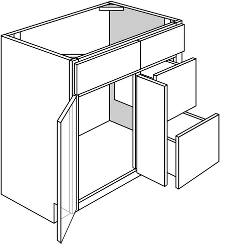 QUINCY VANITY: 2 DOOR 2 DRAWER - DRAWERS ON RIGHT Width: 36 | Height: 34.5 | Depth: 21