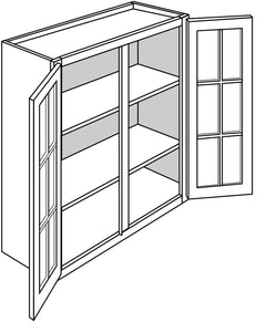 "DOVER WALL CABINETS WITH GLASS DOORS: 36"" H WALL 2 GLASS DOOR Width: 36 