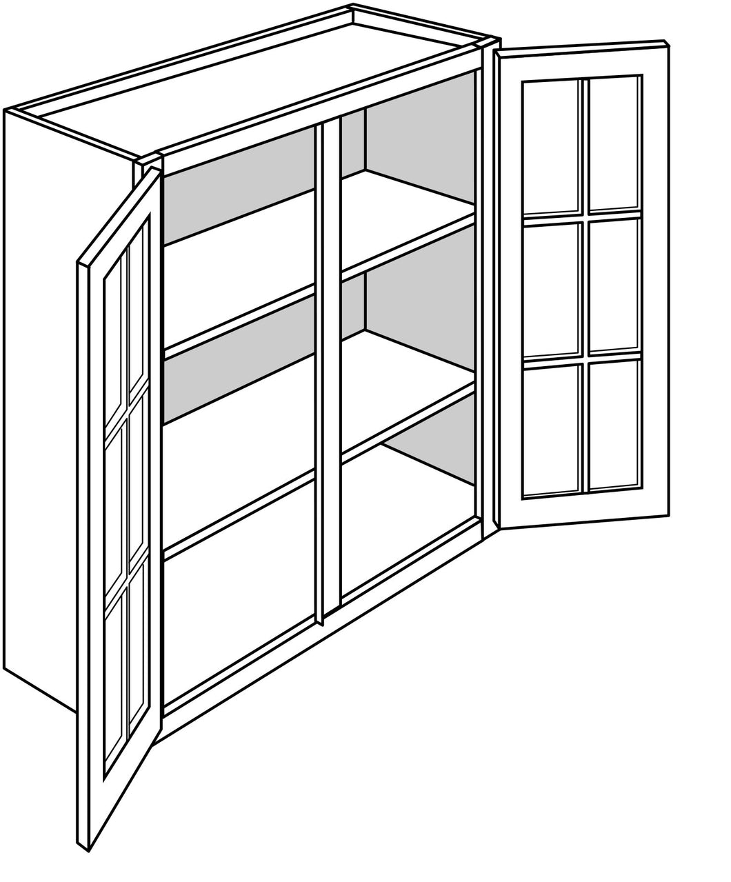TRENTON WALL CABINETS WITH GLASS DOORS: 36