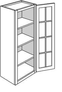 "DOVER WALL CABINETS WITH GLASS DOORS: 42"" H WALL 1 GLASS DOOR Width: 18 