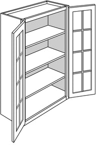 "DOVER WALL CABINETS WITH GLASS DOORS: 42"" H WALL 2 GLASS DOOR Width: 30 