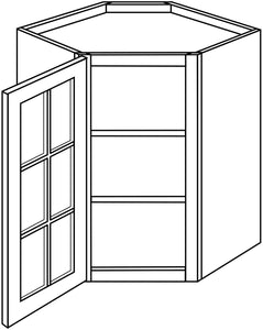 "TRENTON WALL CABINETS WITH GLASS DOORS: 30"" H WALL DIAGONAL 1 GLASS DOOR Width: 24 