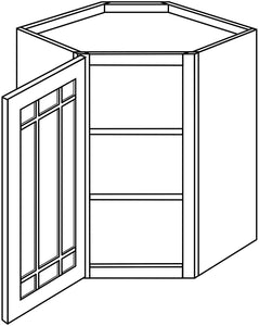 "DOVER WALL CABINETS WITH GLASS DOORS: 30"" H WALL DIAGONAL 1 GLASS DOOR Width: 24 