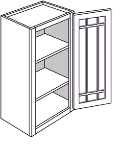 "YARMOUTH WALL CABINETS WITH GLASS DOORS: 30"" H WALL 1 GLASS DOOR Width: 18 