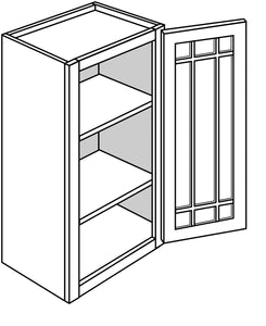 "TRENTON WALL CABINETS WITH GLASS DOORS: 30"" H WALL 1 GLASS DOOR Width: 18 