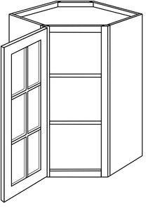 "TRENTON WALL CABINETS WITH GLASS DOORS: 36"" H WALL DIAGONAL 1 GLASS DOOR/15"" DEEP Width: 27 