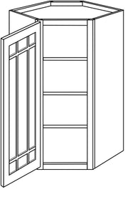 "NORWICH WALL CABINETS WITH GLASS DOORS: 42"" H WALL DIAGONAL 1 GLASS DOOR/15"" DEEP Width: 27 