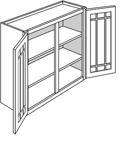 "TRENTON WALL CABINETS WITH GLASS DOORS: 30"" H WALL 2 GLASS DOOR Width: 36 