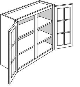 "BRANFORD WALL CABINETS WITH GLASS DOORS: 30"" H WALL 2 GLASS DOOR Width: 36 