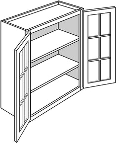 "DOVER WALL CABINETS WITH GLASS DOORS: 30"" H WALL 2 GLASS DOOR Width: 30 