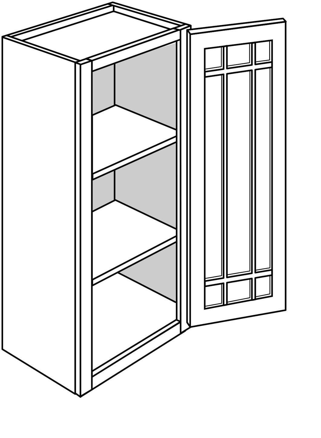 DOVER WALL CABINETS WITH GLASS DOORS: 36