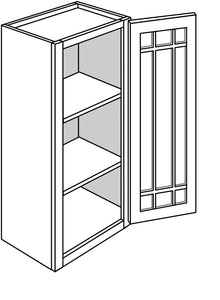 "BRANFORD WALL CABINETS WITH GLASS DOORS: 36"" H WALL 1 GLASS DOOR Width: 18 