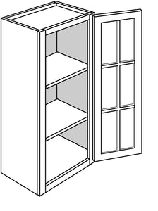 "TRENTON WALL CABINETS WITH GLASS DOORS: 36"" H WALL 1 GLASS DOOR Width: 18 