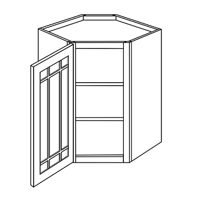 WHEATON  WALL CABINETS 36IN. H WALL DIAGONAL 1 GLASS DOOR