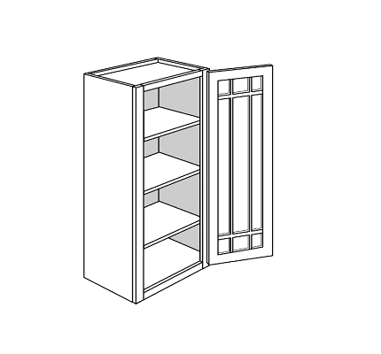 PLYMOUTH WALL CABINETS 42IN. H WALL 1 GLASS DOOR Width: 15 D