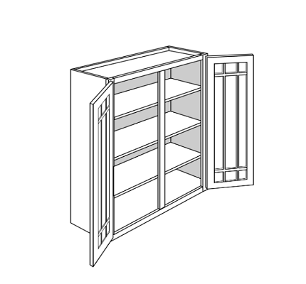 KINGSTON  WALL CABINETS 42IN. H WALL 2 GLASS DOOR Width: 36 D