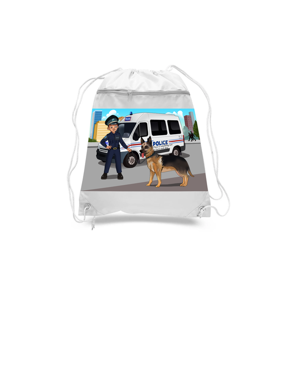 Police Officer Drawstring Bags