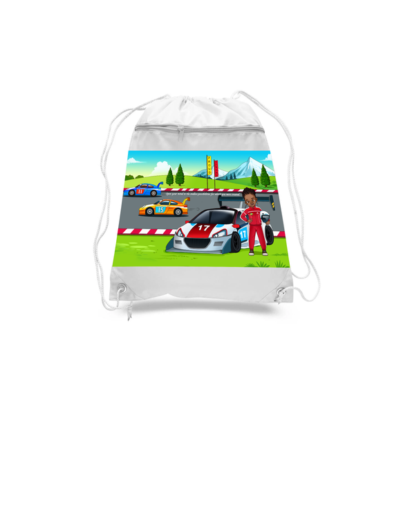 Race Car Driver Drawstring Bags