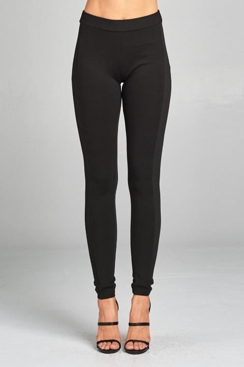LOGO by Braazi Collection Black Leggings with Matte Leather-like Tuxedo Stripe