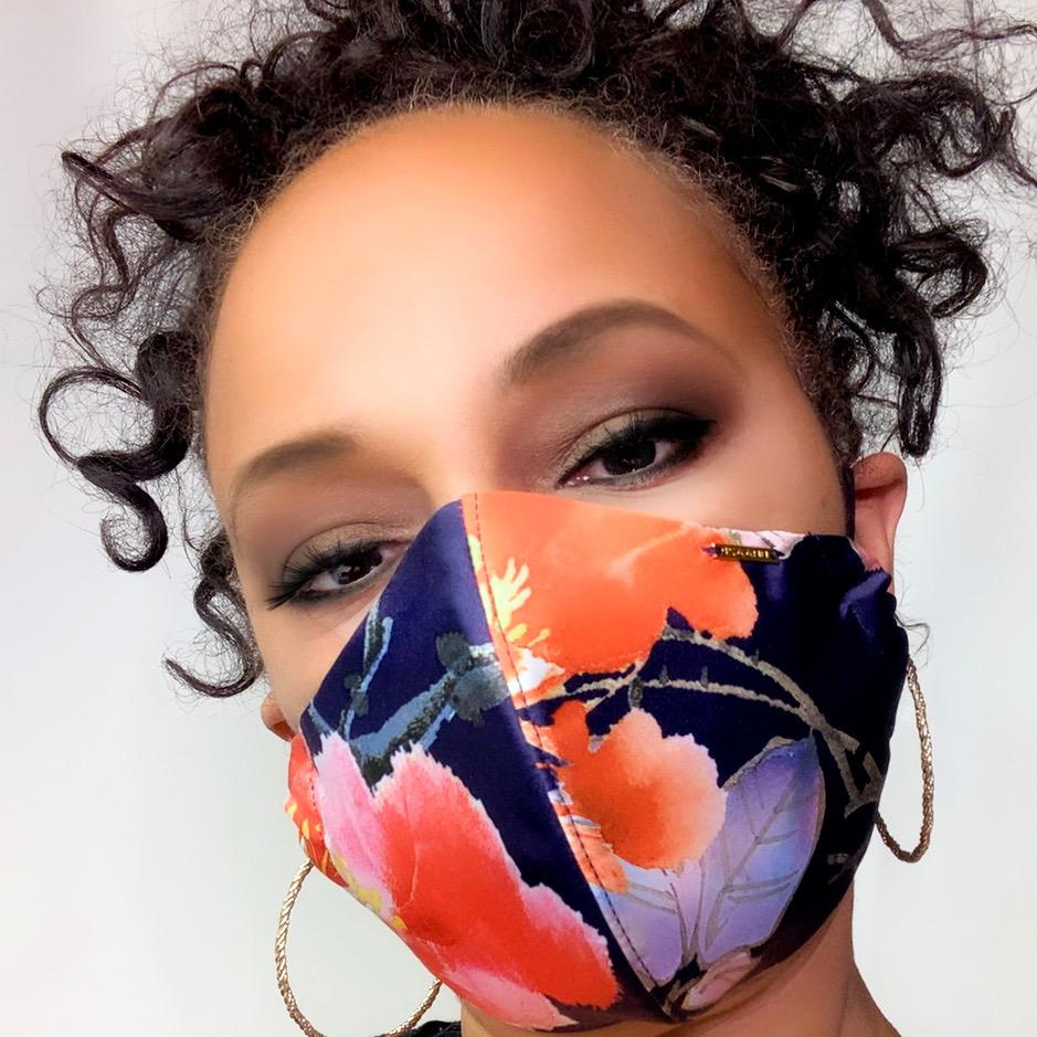 floral satin face mask