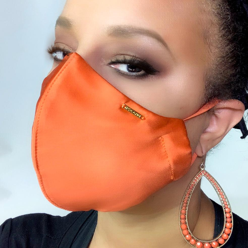 orange silk face mask