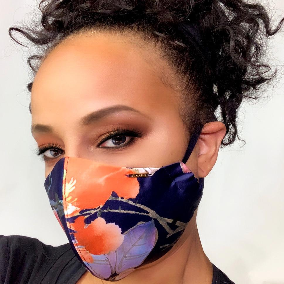 Navy Blue Floral Satin Face Mask Lined With Cotton Filter Pocket Washable Reusable