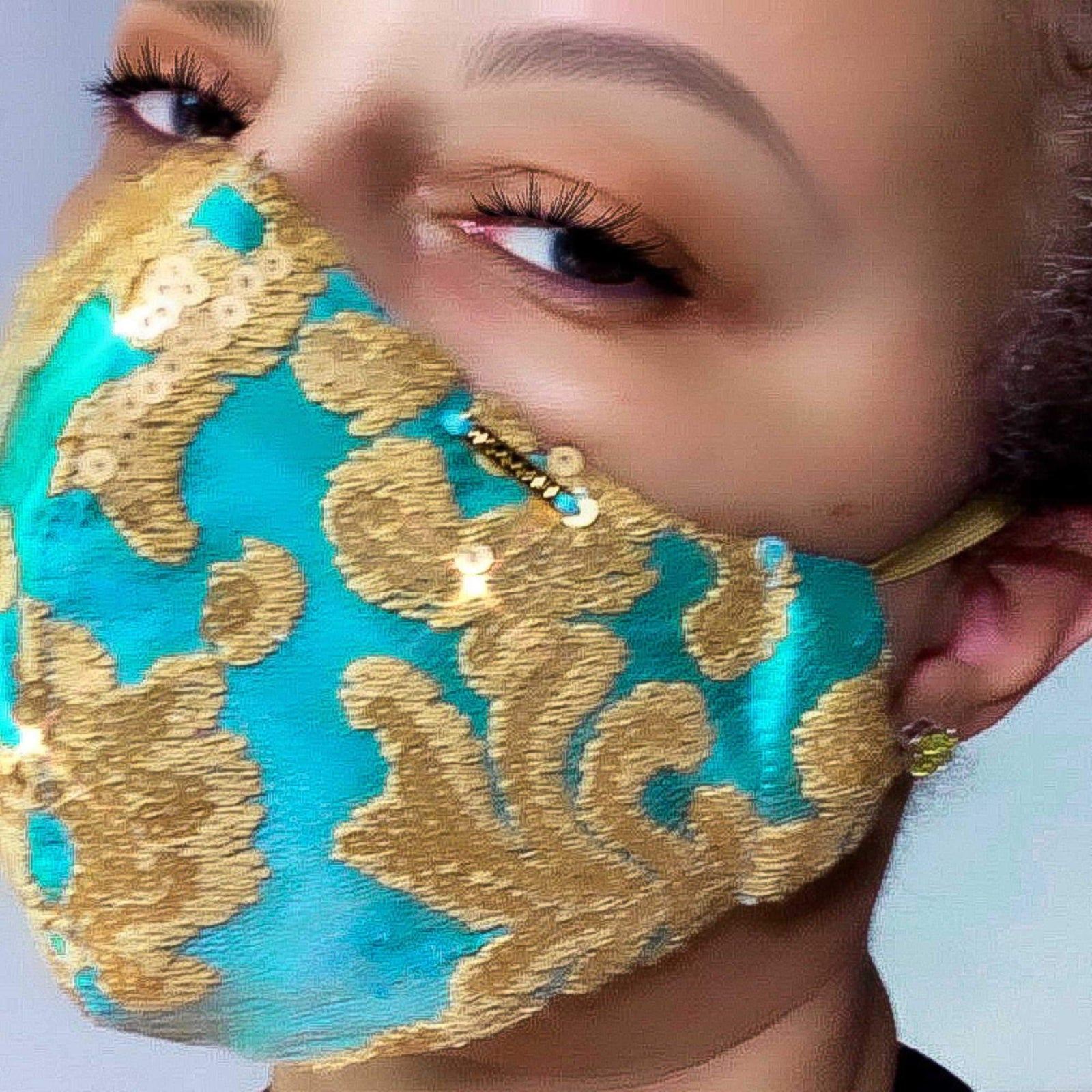 Turquoise and Gold Sequin Silk Face Mask Lined With Filter Pocket