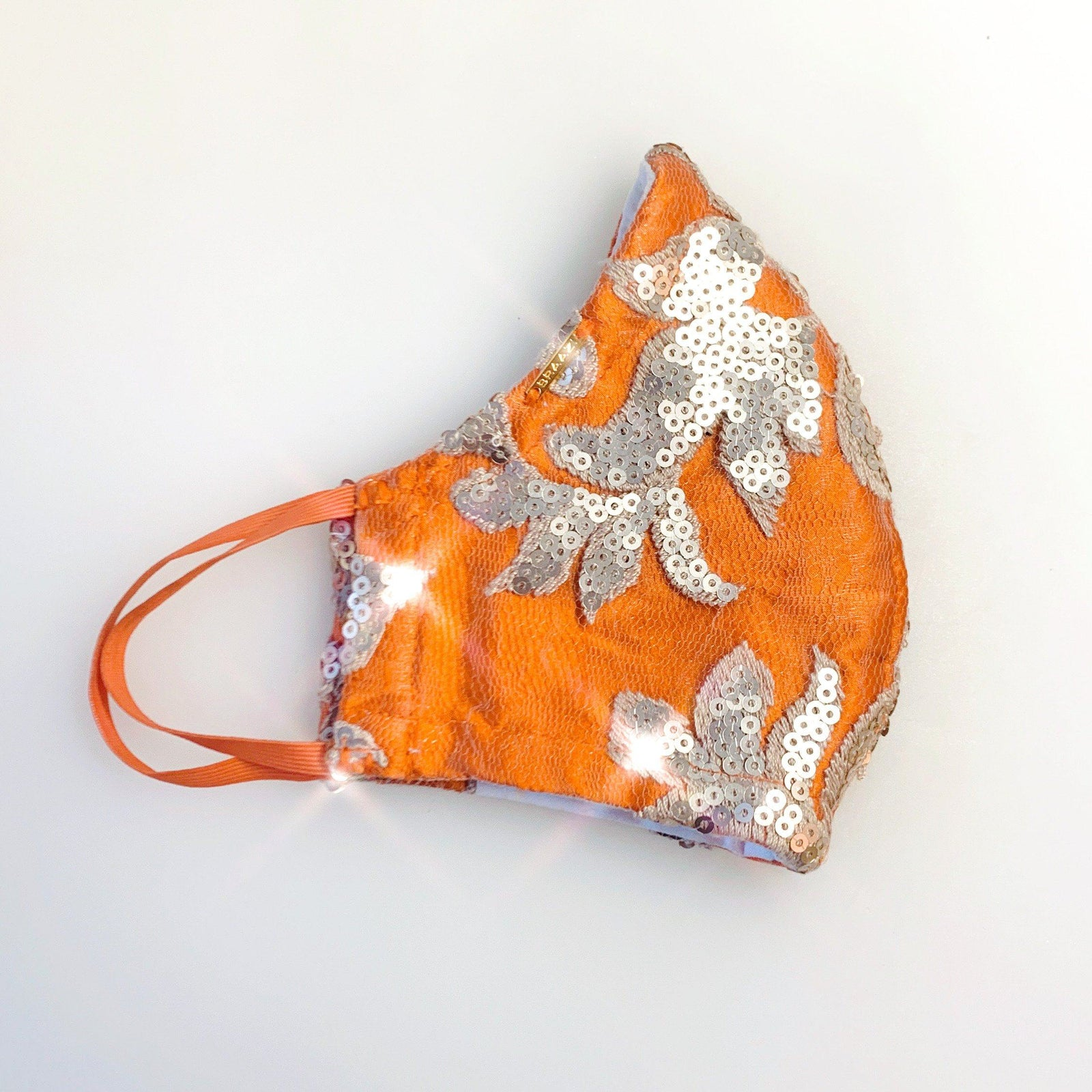 Burnt Orange Sequinned Silk Face Mask Lined With 2 layers of 100% Cotton Washable Reusable Filter Pocket