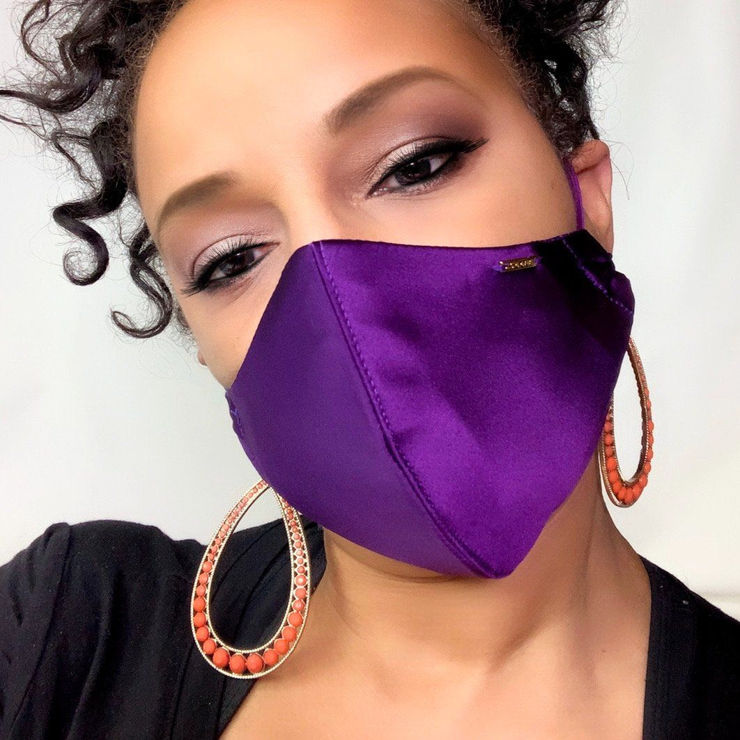 purple silk face mask