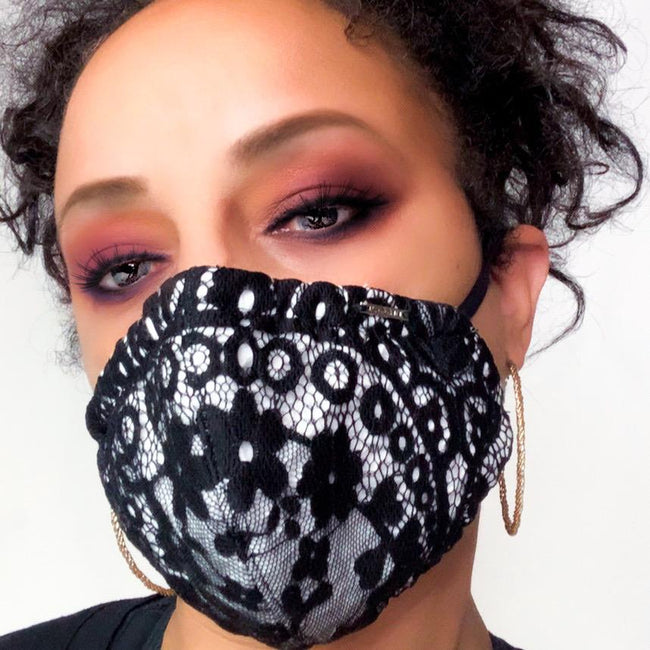 black and white lace face mask