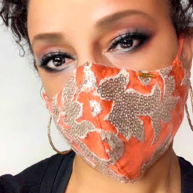 orange and gold sequin face mask